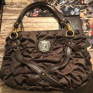 🌹 Juicy Couture Brown Quilted Silk Shoulder Bag